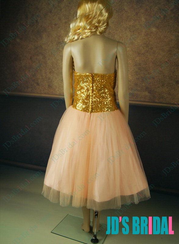 LJ146 Sparkles gold sequins peach colored tea length short party dress