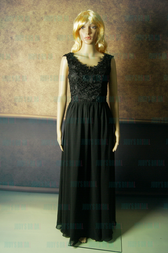 LJ150 Sexy black color sheer backless chiffon long prom dress