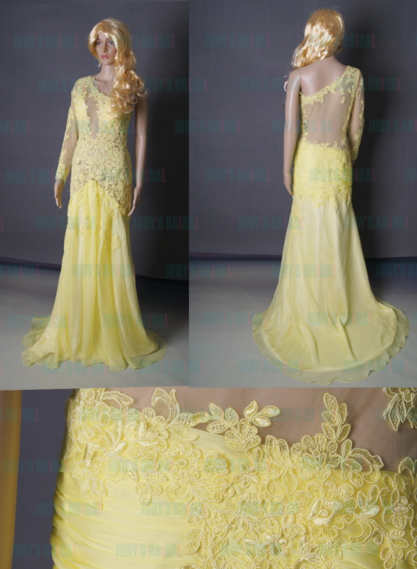 Lj160 Sexy Yellow See Through Backless Lace One Shoulder