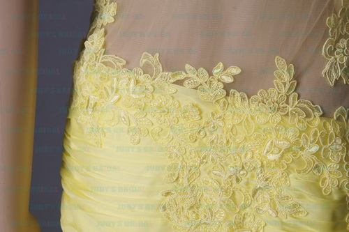 LJ160 sexy yellow see through backless lace one shoulder prom dress