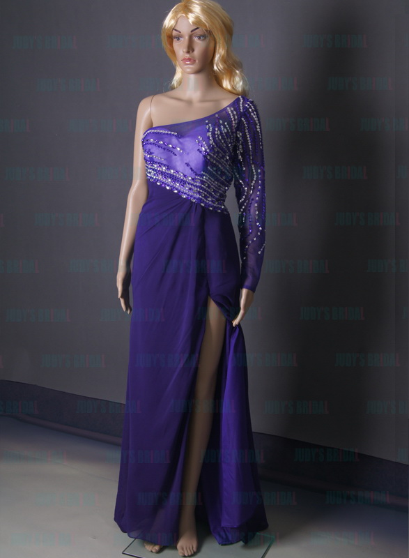 LJ162 sexy purple one shoulder sleeve column chiffon prom dress