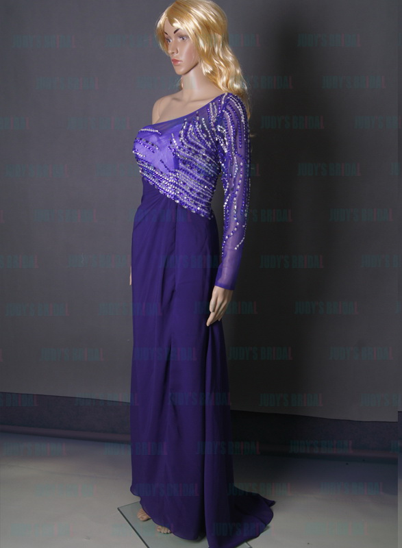 sexy purple colored one shoulder long sleeved column chiffon long prom evening dress with sparkles crystal top