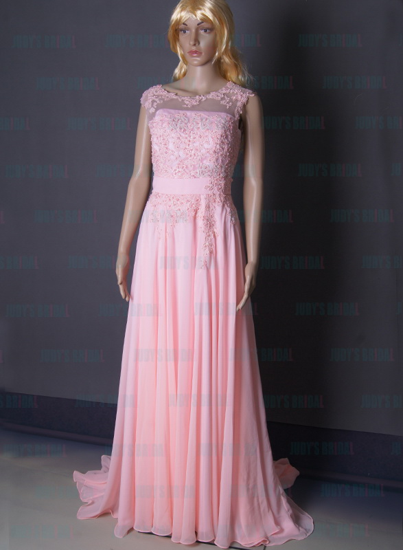 LJ163 pretty pink color lace top flowy chiffon prom evening dress