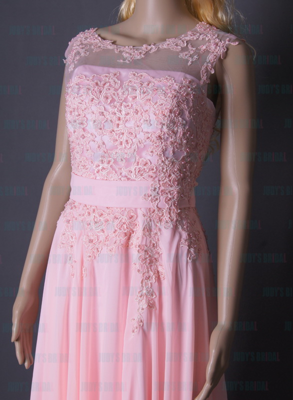 LJ163 pretty pink color lace top flowy chiffon prom ...