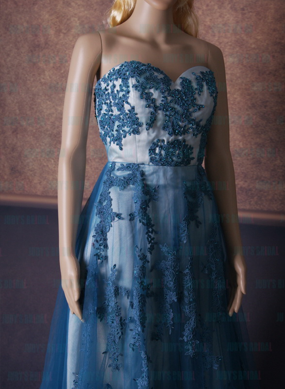 LJ167 Elegant auqa blue lace tulle skirt evening prom dress