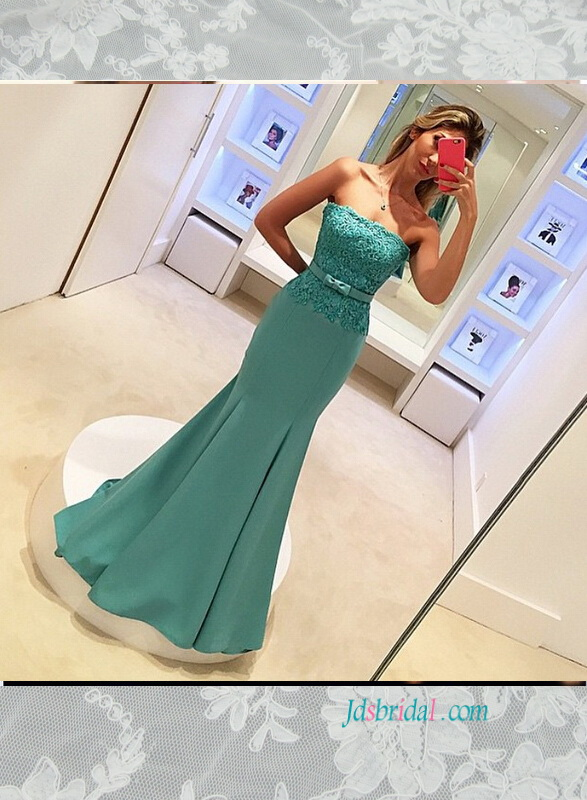 PD16002 informal strapless mint green colored mermaid evening prom dress