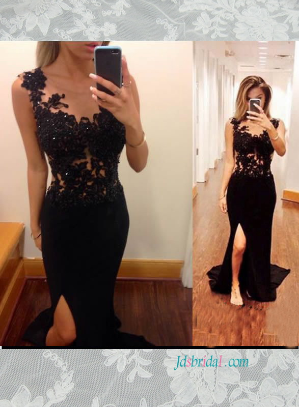 PD16003 Sexy black illusion lace top slit sheath prom dress
