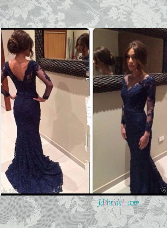 PD16004 Couture long sleeves navy blue lace prom evening dress