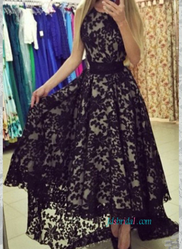 PD16005 New arrival black over white high low prom dress