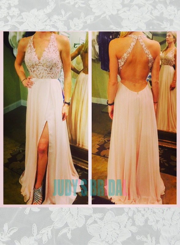 sexy halter open back lace bodice slit chiffon long prom evening gowns 2016