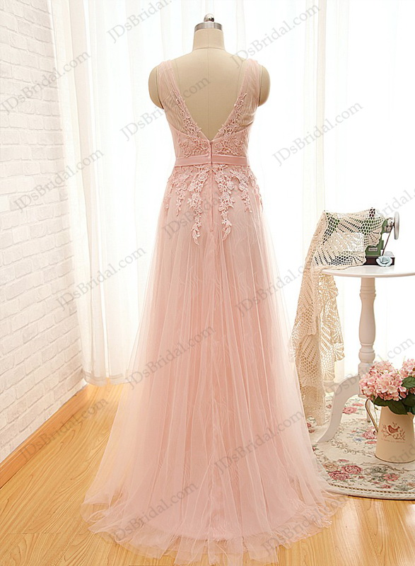 PD16009 Soft airy pink colored strappy deep v back tulle prom dress