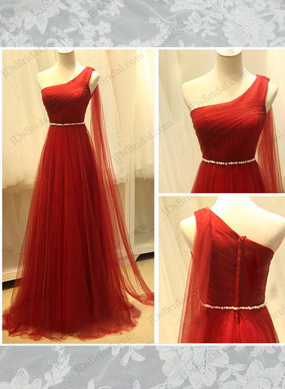 PD16010 Red color goddess one shoulder airy tulle long prom gowns