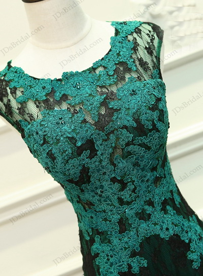 PD16012 Hunter green coloured cap sleeved cut out back mermaid prom dress