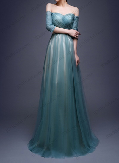 PD16013 Stunning teal red color sweetheart neck tulle long prom dress