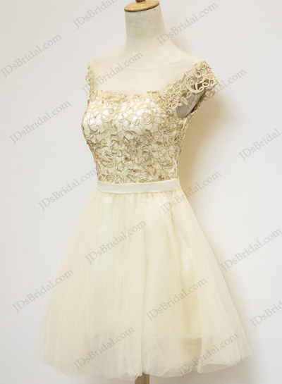 PD16014 Lovely light champagne golden short party prom dress