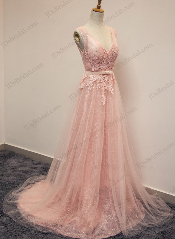PD16016 Sparkles Pink blush v neckline tulle long prom evening dress