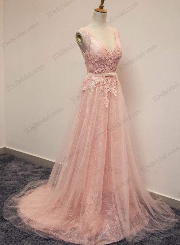 Pd16016 Sparkles Pink Blush V Neckline Tulle Long Prom