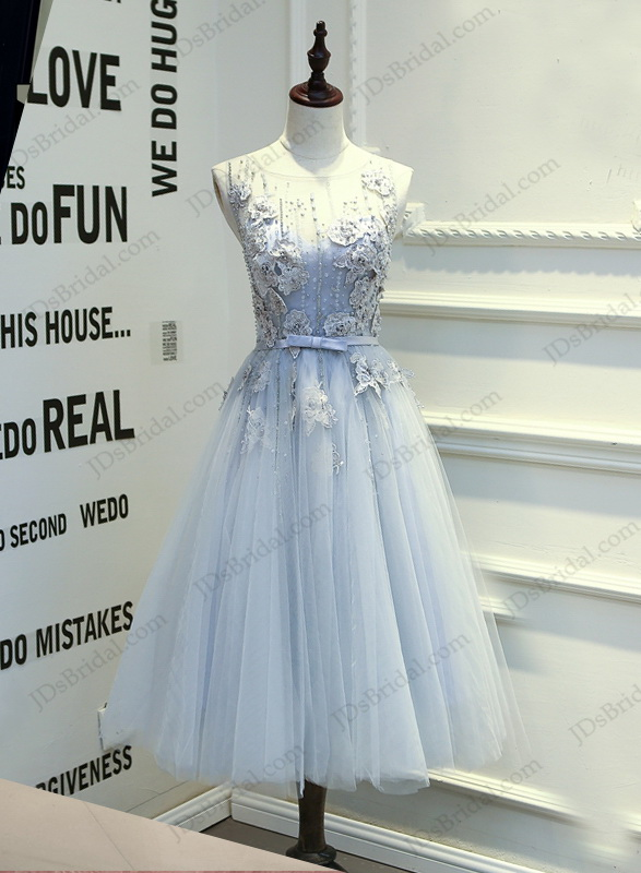 PD16017 Tea length dusty blue grey backless tulle homecoming prom dress