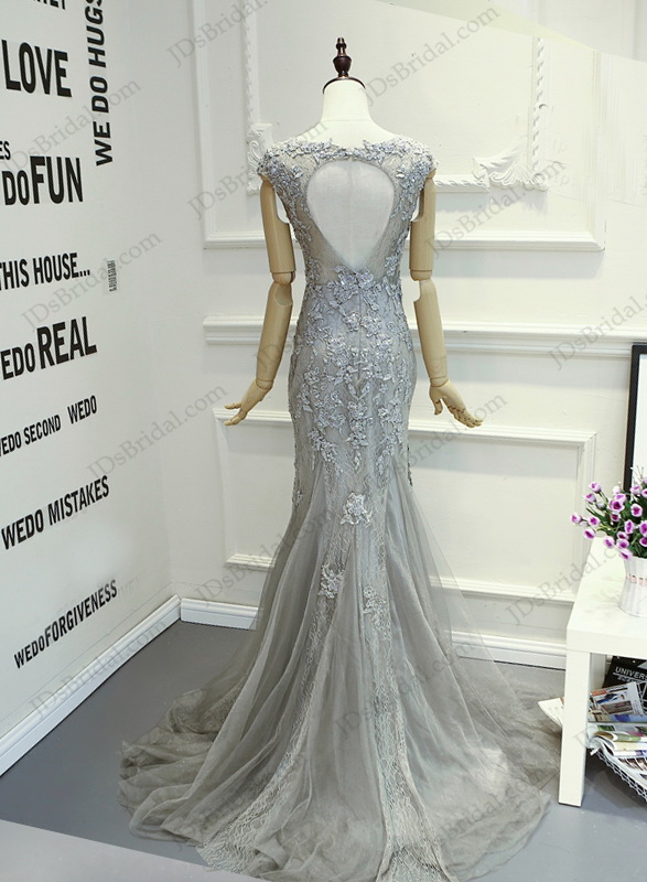 PD16018 Gray red keyhole back cap sleeved lace sheath prom gown