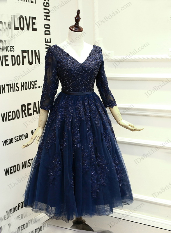 PD16019 Sexy navy blue open back tea length school prom dress