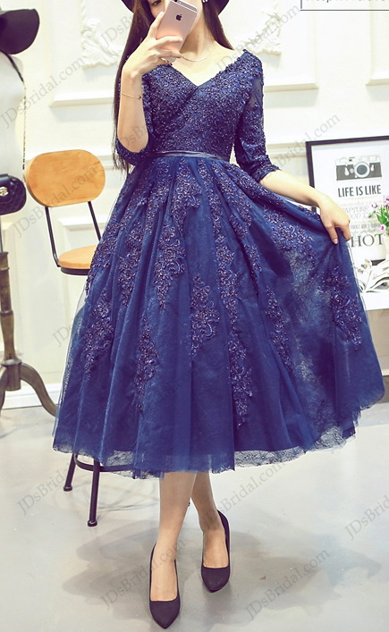 sexy low back navy blue tea length tulle school party prom dress with illusion sleeves
