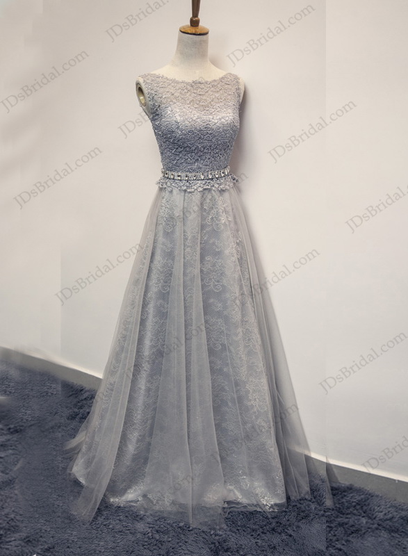 PD16020 Sexy illusion lace back bateau neck grey prom dress :
