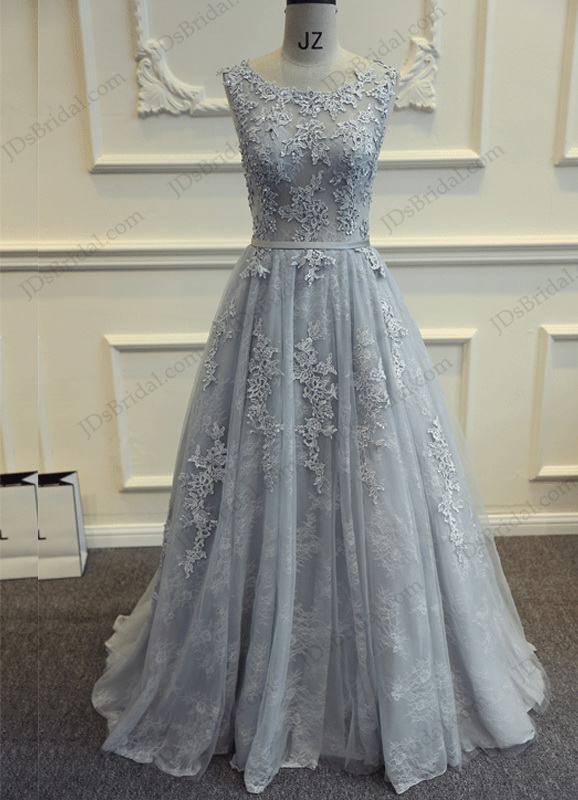 PD16021 Sexy deep v back gray lace long prom evening dress