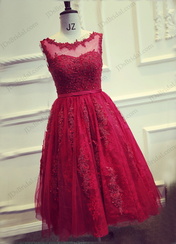 Pd16022 beautiful red burgundy tea length lace sheer back for Red tea length wedding dress