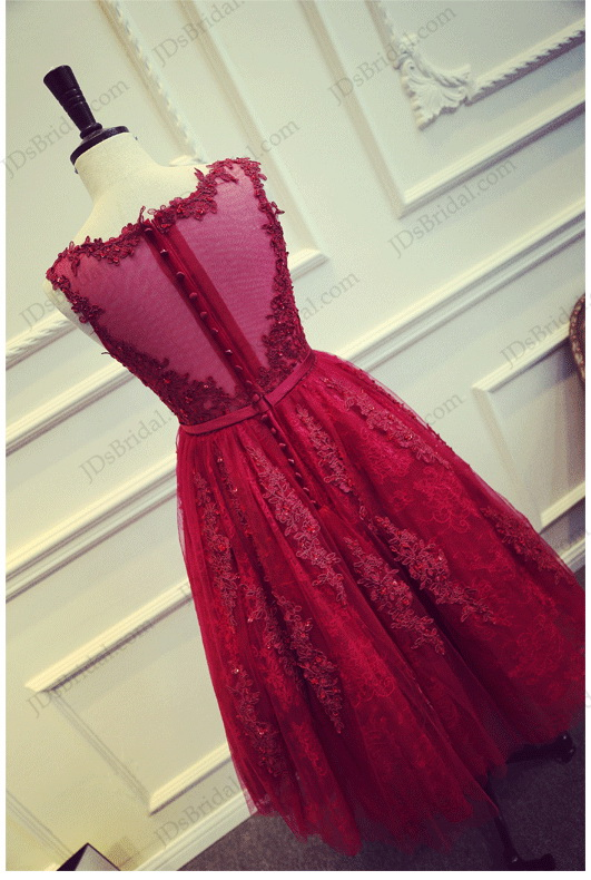 PD16022 Beautiful red burgundy tea length lace sheer back prom party dress