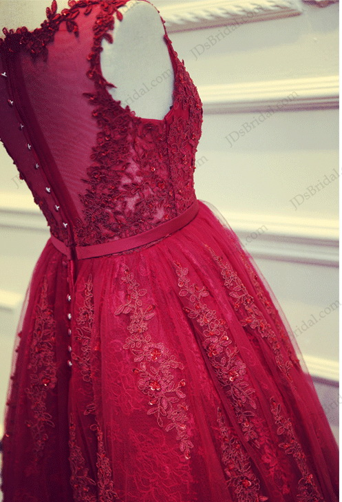 Pd16022 Beautiful Red Burgundy Tea Length Lace Sheer Back