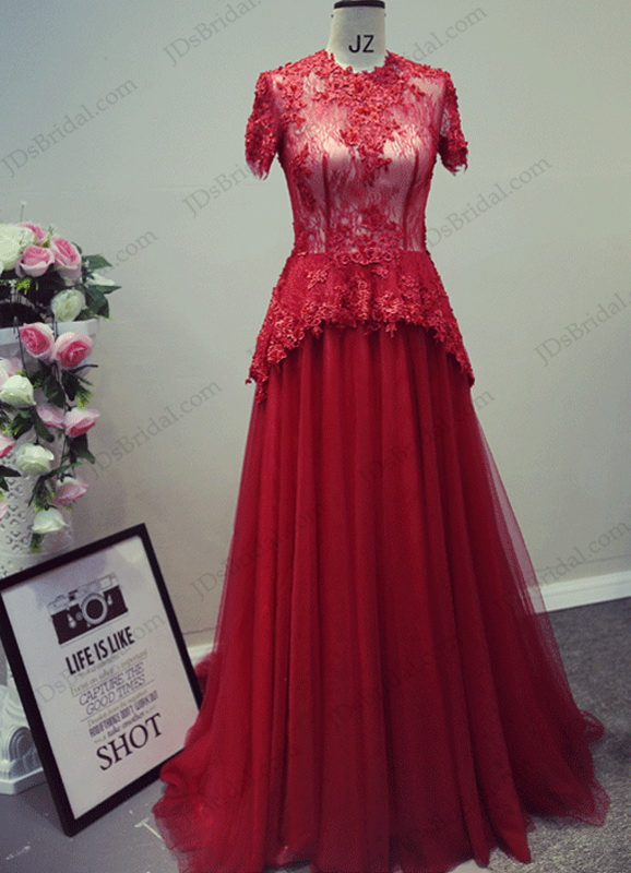chic peplum burgundy red colored high neck short sleeves tulle long events prom dress