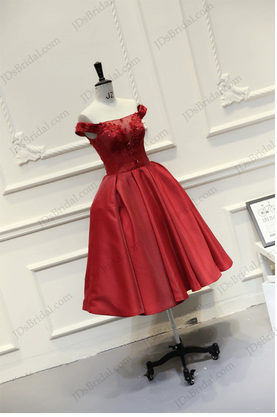 PD16024 Lovely red colored off shoulder tea length school party prom dress