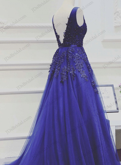 PD16025 Swoon blue v neckline low back tulle long prom evening dress
