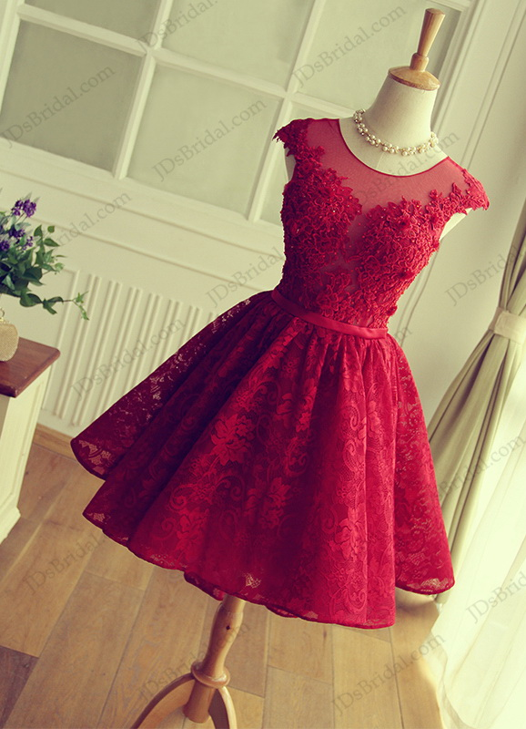 PD16026 Red color sweetheart keyhole back short lace prom party gown