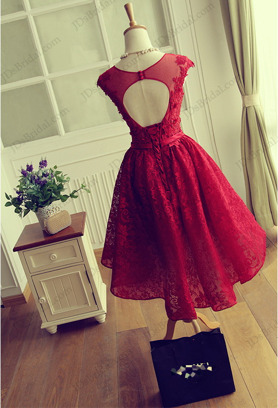 Pd16026 Red Color Sweetheart Keyhole Back Short Lace Prom