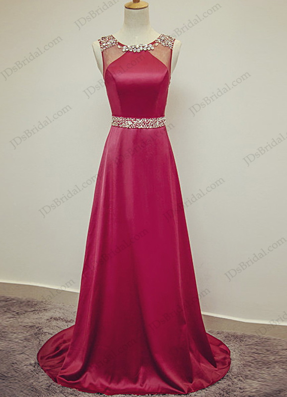 PD16027 Simple elegant crystal detailed scoop neck red long evening prom dress