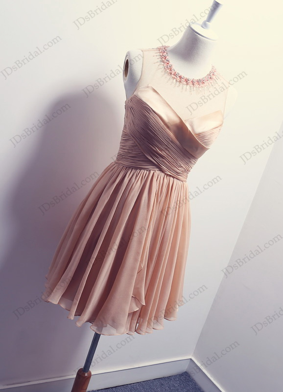 PD16028 Sexy little blush color sheer keyhole back short wedding party dress
