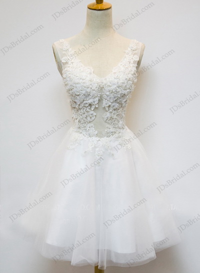 PD16029 sexy see through lace bodice tulle short skirt little white party dress