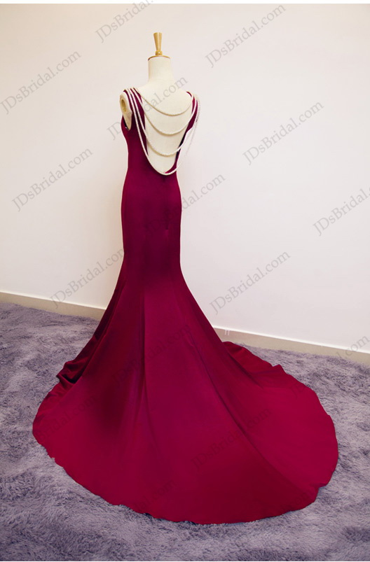 PD16030 Simple Elegant red burgundy colored backless mermaid prom dress