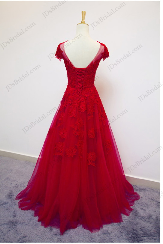 PD16031 Red color lace cap sleeves a line tulle prom dress