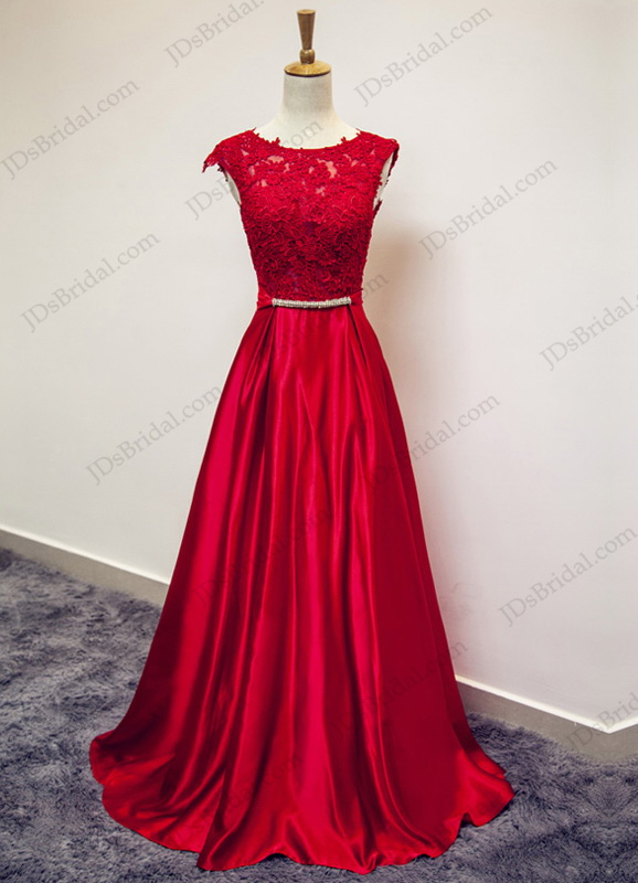 PD16032 Red illusion bateau neck deep v back prom evening dress