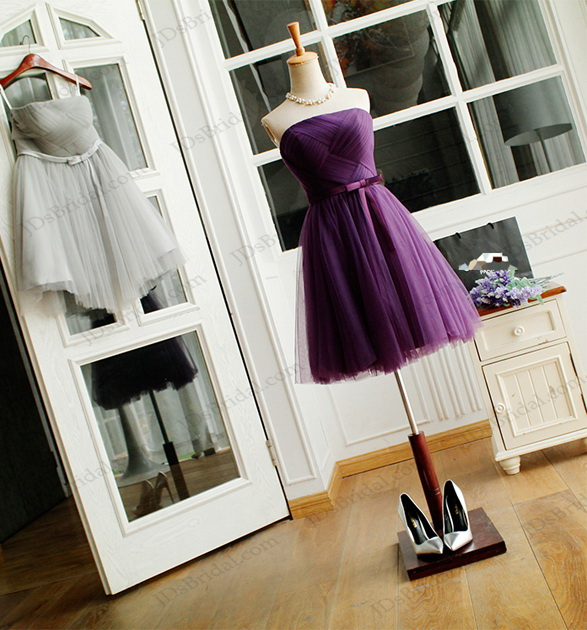 PD16033 Gray pink purple short tulle party prom dress