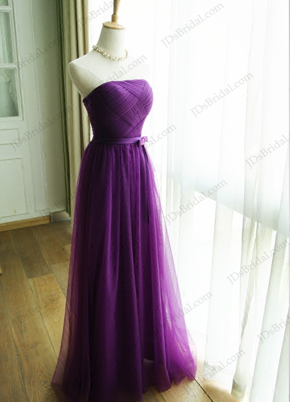 PD16034 Elegant Strapless Purple Color Long Tulle Prom Evening Bridesmaid Dress