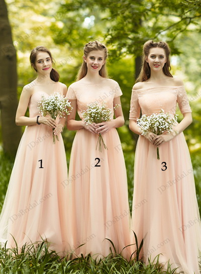 Blush Colored Long Chiffon Bridesmaid Dress With Short Sleeves Could Be Prom