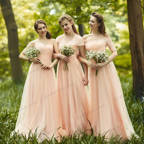 cheap blush colored long chiffon bridesmaid dress with short sleeves could be prom dress