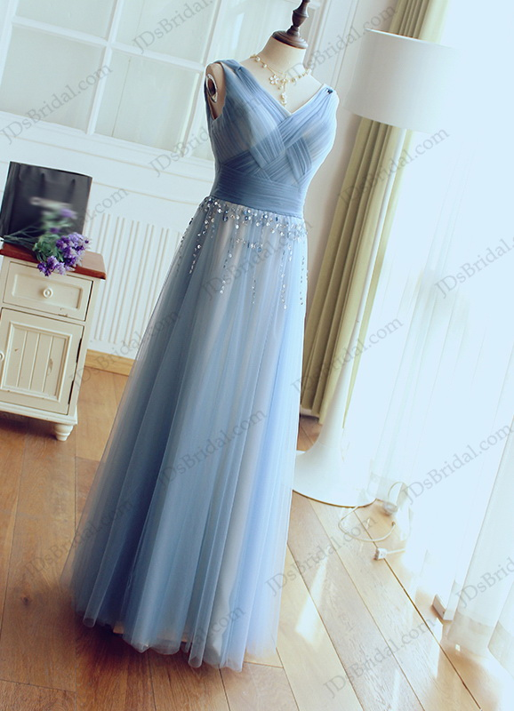 PD16036 Gray blue bling detailed tulle long prom evening dresses