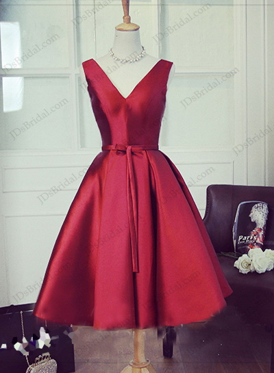PD16037 Burgundy simple v neck vintage tea length party prom dress