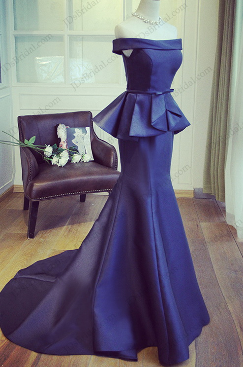 PD16038 Elegant peplum navy mermaid prom evening dress