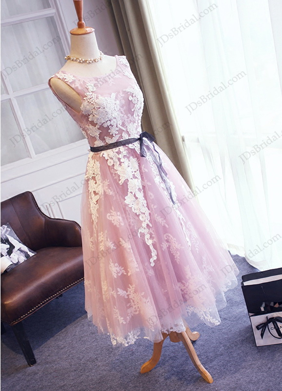 PD16041 Amazing purple with white lace detailed tea length prom gown