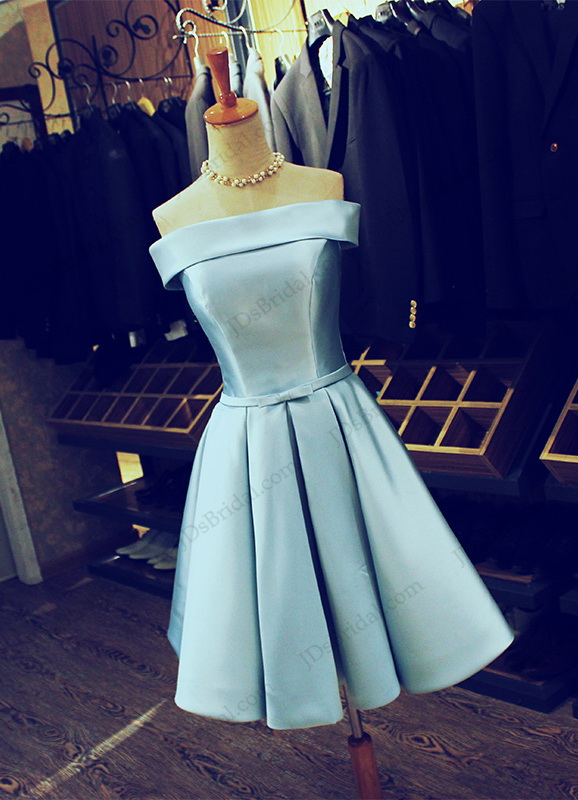 PD16042 Elegant off shoulder little blue short prom party dress